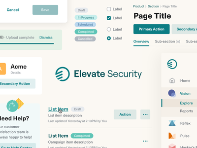 Elevate Security - Design system ui rebrand product design components design system