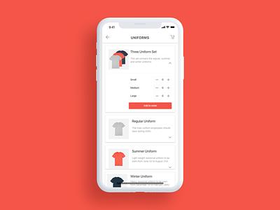 Uniform Ordering App t-shirt app ordering app iphone x product page uniform mobile app e-commerce design exercise product design exercise product design uiux