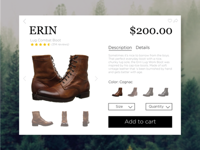 Day 002 boots fryes product product card day 2 product card day 2 100 days of ui ui