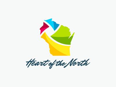 Heart of the North spectrum swirl vector wisconsin handwritten script design identity logo branding