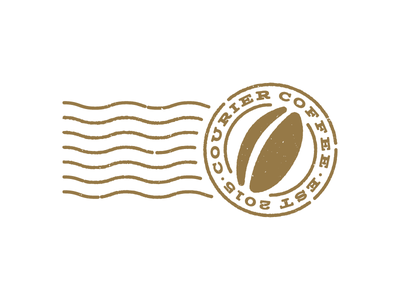 Courier Coffee worn eroded shipping stamp postage mail bean coffee identity branding design logo