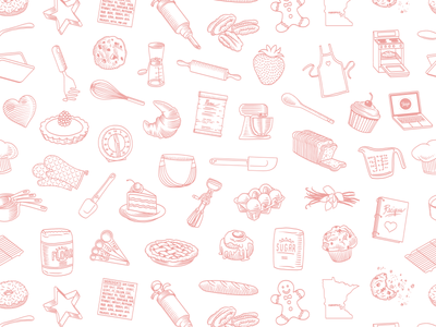 Sweet Zoey's Pattern repeating icon illustration cookware baking kitchen pattern