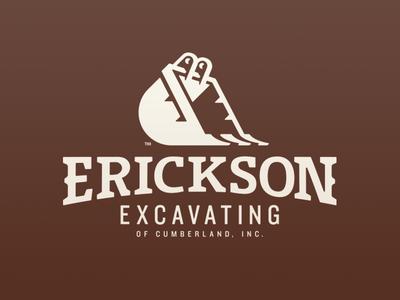 Erickson Excavating construction equipment excavate design branding logo type typography