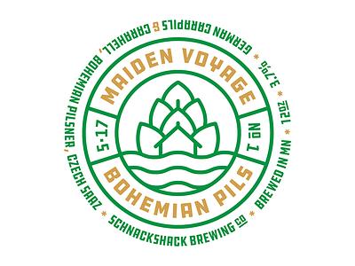 Schnackshack Brewing Co. - Maiden Voyage bohemia pilsner hops illustration design home brew cap beer
