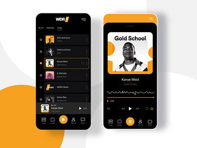 WDR Live Germany - Radio App UI/UX socialmediamarketing iphone webdeveloper webdesign web yellow android ios germany radioapp radio foster interface kanyewest ui ux mobile music app