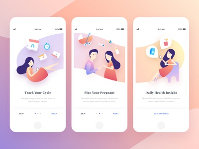 Period Tracker Onboarding mobile illustration onboarding