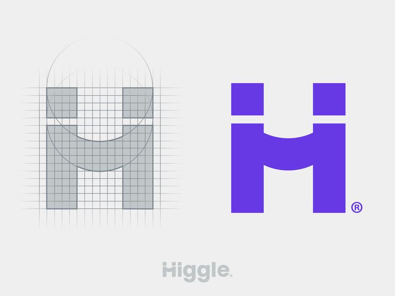 Higgle - H logo grid vector symbol icon mark partner hey hello meet meeting handshake hand logotype typography branding logo designer minimalist logo design grid logo modern logo higgle logo