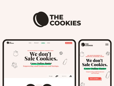 The Cookies Agency - Logo design and Website UX/UI mic podcasting podcast design app chocolate bar chip milk healthy logo design designer illustration ui brand design seo smo marketing agency cookie biscuit orio the cookies design minimalist typography branding logo designer modern logo brand identity