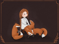 Girl with foxes. Illustration