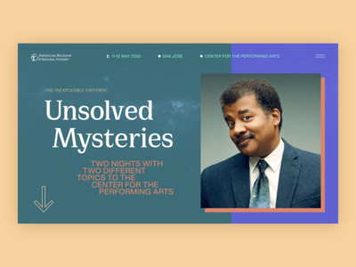 Neil deGrass Tyson // Event Page Concept