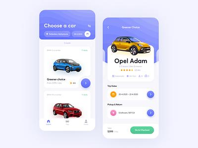 Car Rental // Mobile App minimalism rental interface startup mobile business e-commerce digital product car design colorfull application app