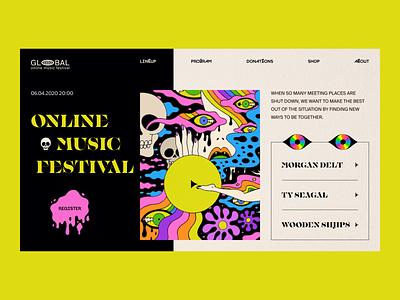Online Music Festival // Website Concept punk web design design ux web brutalism psychedelic rock stream website trippy minimal clean trash flat