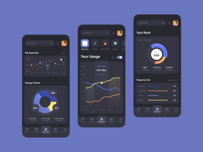 Public Services Dark Theme // Mobile App Concept dark theme website dashboard web design web app web utility utilities project dashboard product design payment mobile dashboard mobile app mobile minimal flat design dashboard app dashboard clean card