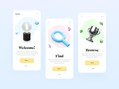 Onboarding // Mobile App Concept ios webdesign product design colors minimalism app ui ux flat clean illustrations 3d onboarding design web mobile