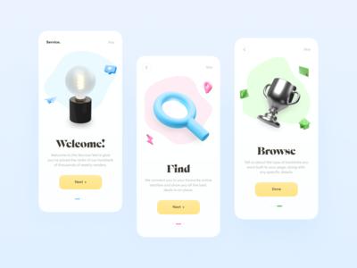 Onboarding // Mobile App Concept ios webdesign product design blacklead colors minimalism app ui ux flat clean illustrations 3d onboarding design web mobile