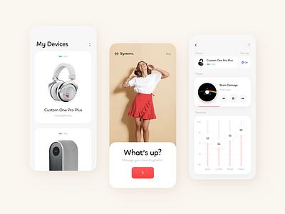 Sound Systems // Mobile App Concept concept headphones sound smart music equalizer vector app product design flat minimal clean design mobile app mobile ux ui