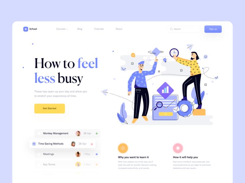 Time Management Courses // Landing Page landing minimalism landing page illustration product design website web design flat minimal web clean design ux ui