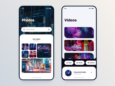 Neon Lights style Library's // Mobile App