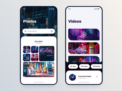 Neon Lights style Library's // Mobile App ui neon ux  ui design app mobile