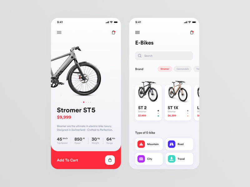 E-Bike Store // Mobile App Concept web typogaphy minimal interface web design bicycle store ebike uiux ux ui product page ios ecommerce design clean cards app design app mobile