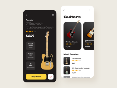 Mobile App for Fender Guitars // Concept