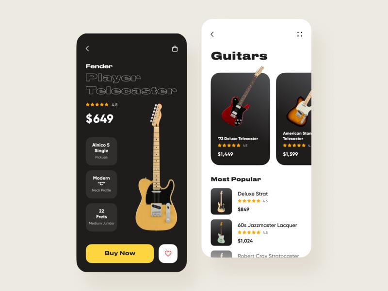 Mobile App for Fender Guitars // Concept typography ios ui design webdesign web design mobile app flat guitar fender vector website app web minimal clean mobile design ux ui