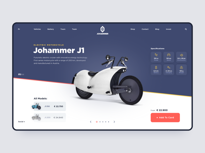 Johammer Electric Motorcycle // Promo Page Concept uiux webdesign web design mobile app flat vector website app web minimal clean mobile design ux ui black lead typography product design