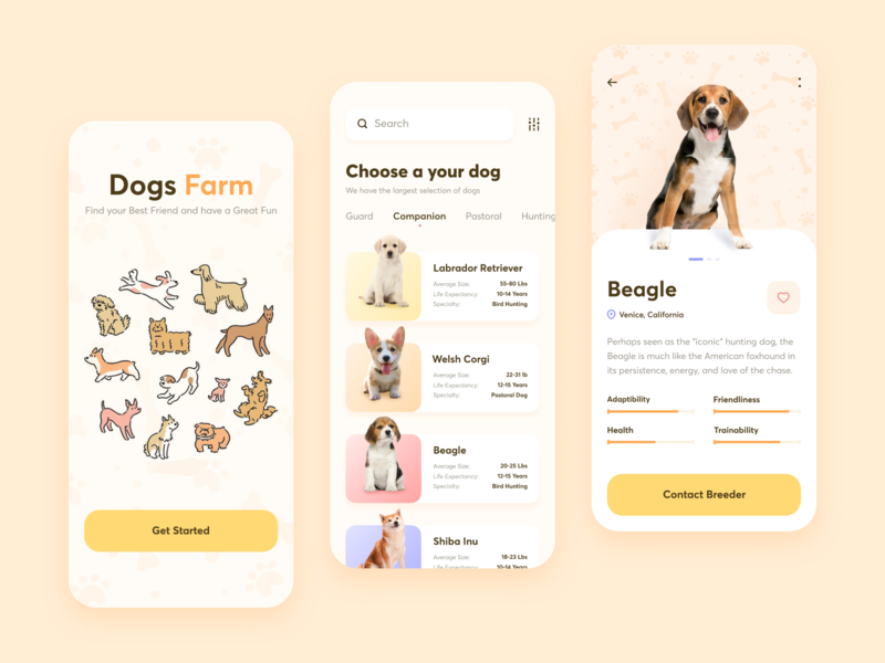 Dogs Adoption Service // Mobile App Concept uiux webdesign web design mobile app flat vector website app web minimal clean mobile design ux ui typography product design ui design uidesign