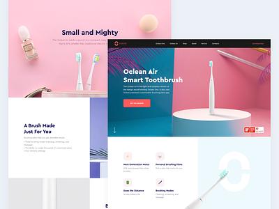 Smart Toothbrush // Landing Page uidesign uiux ui design web design color product design flat vector ux ui clean minimal landing landing page website webdesign design web