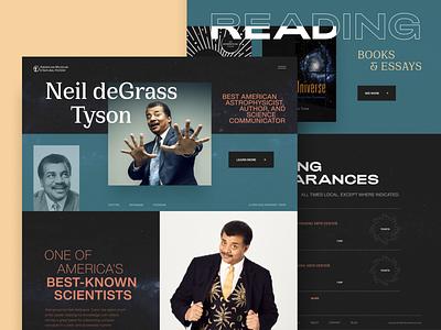 Neil deGrasse Tyson // Website Concept brutalism space science clean color design flat geometric minimal mobile ui uidesign ui design ux vector web webdesign web design website