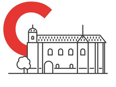 Colchester Town - Colchester Castle norman castle essex colchester city town building vector flat design logo illustration