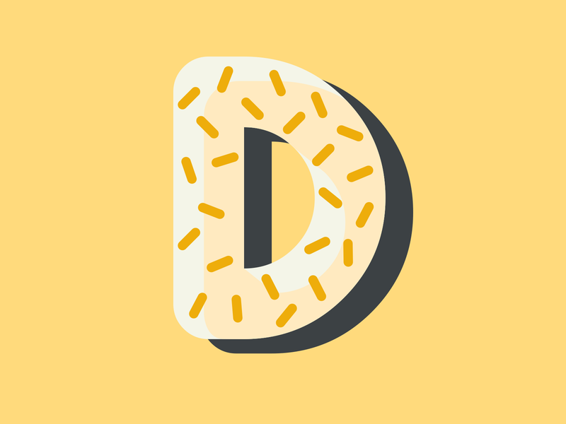 36 Days of Type - Letter D vector typography type lettering challenge lettering art lettering letter d adobe illustrator cc illustration iconicity icon flat doughnut donut adobe illustrator adobe 36 days of type 36 days