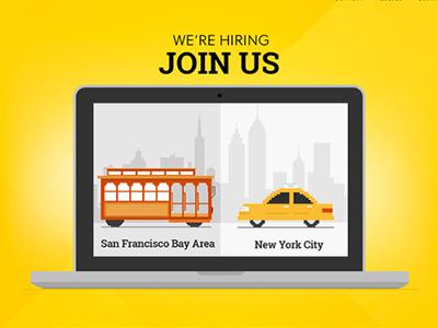 Laptop laptop cityscape illustration hiring francisco newyork sanfrancisco taxi cablecar trolley