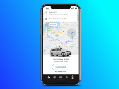 Karma Rideshare dashboard driver hud car autonomous vehicle
