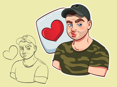 Cute couple sticker No1 character sketch love military digital art illustration wacom valentine day couple sticker