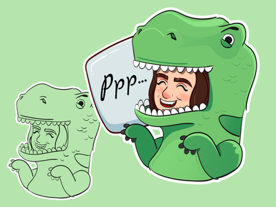 Cute couple sticker No2 digital art love sketch valentine day wacom dinosaur sticker woman 2d color girl vector character illustration
