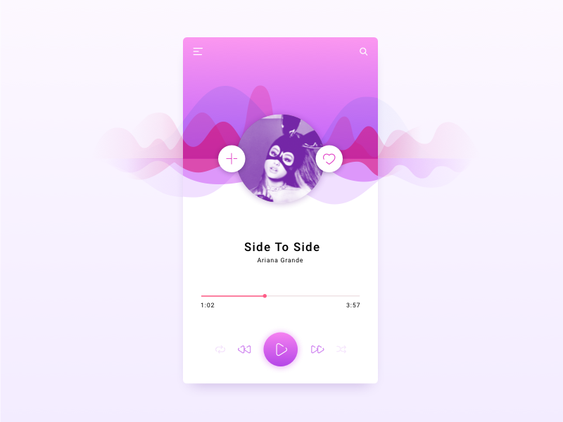 Music player app concept search artist song purple favorites buttons icons wave ios app player music
