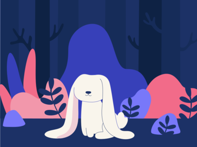 Cute Bunny nature trees wilderness character vector flat dark night forest cute rabbitbunnyillustration animal