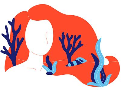 Underwater Fairy Tale vector character aquatic flat starfish plants illustration ocean girl underwater mermaid seaseaweed
