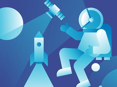 Exploring Space rocket planet galaxy astronaut gravity vector man illustration geometric colors artwork