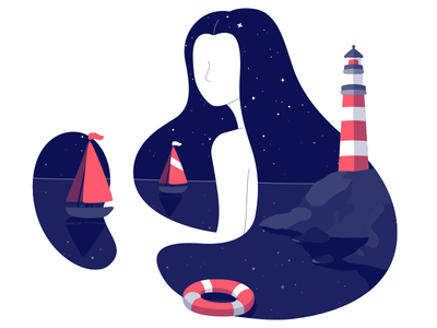 The Sky Full Of Stars  2 women story night nature image illustration boat lighthouse flat earth character