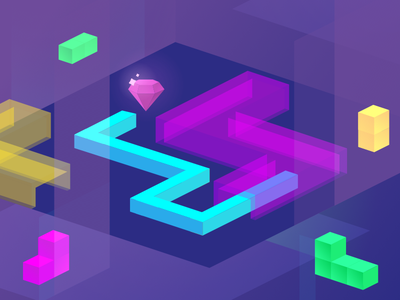 Ar Snake   App Store Promotional Artwork labyrinth isometric snake color iphone neon illustration augmented ar game app