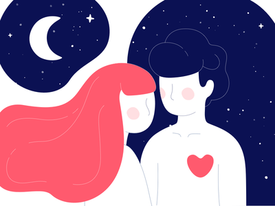 Moon Of My Life graphic design night couple moon stars heart 2d illustration character valentinesday love