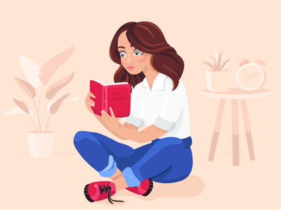 Illustration for book lovers graphic design character imagination education design illustration plants woman girl reading books