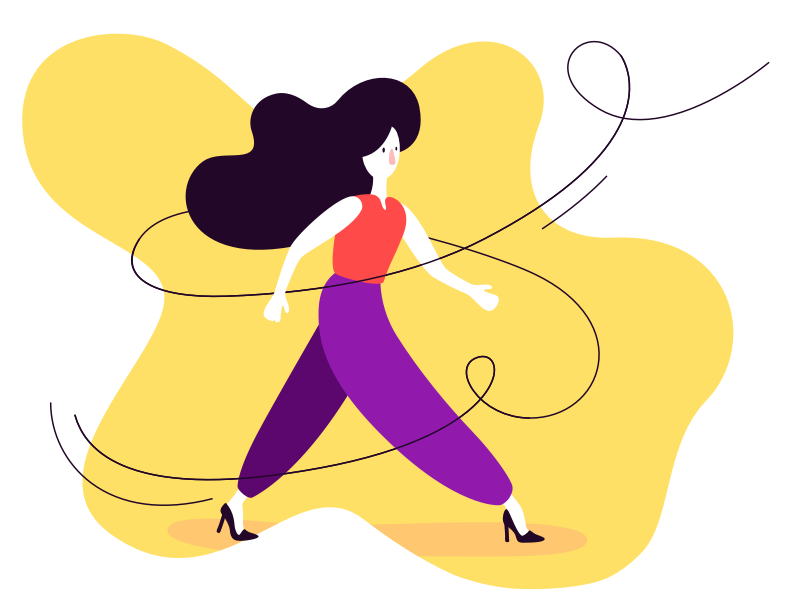 Take A Walk graphic design stroke curves 2d walk character design illustration woman girl vortex