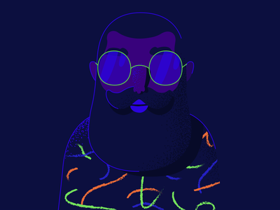 Neon Lights man line character illustration dark lights neon moustache friday beard 2d club