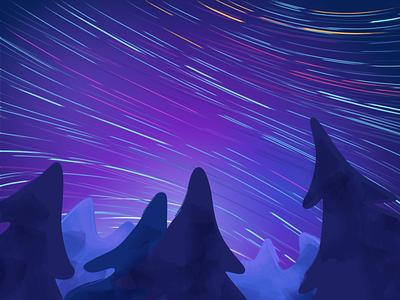 The Starry Night star trail forest sky spruce landscape tree stars night design illustration gradient