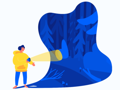 The Human Heart Is A Dark Forest shadow lantern tree nature forest light dark man yellow blue character illustration
