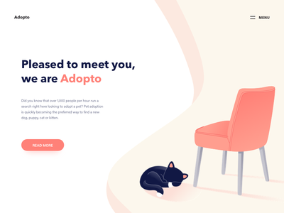 Adopt A Pet  Landing Page Illustration web page landing page vector furniture home button ui illustration cat pet animal adopt