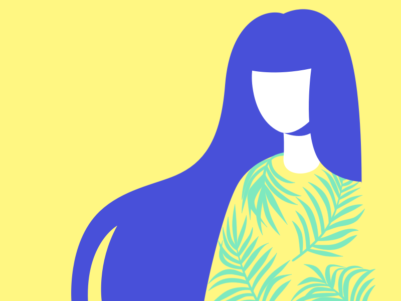 Summer Vibes graphic design character design plants palm sun woman chill illustration vector girl yellow summer